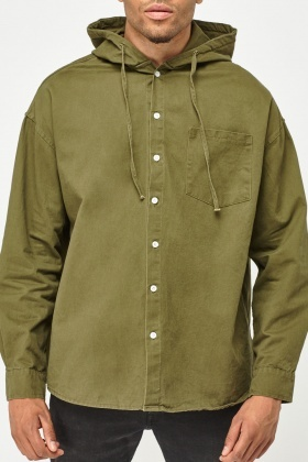 Hooded Light Button Over Shirt