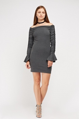 Ruched Gathered Sleeve Bardot Dress
