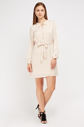Sateen Tie Up Shift Dress