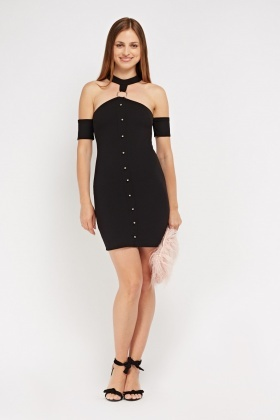 Detailed Front Cut Out Shoulder Dress