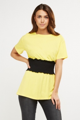 Elasticated Waist Gathered T-Shirt