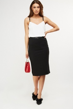 Metallic Insert Ribbed Pencil Skirt