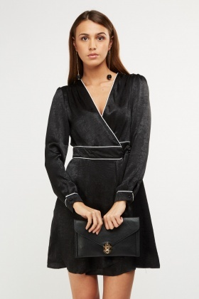 Sateen Tie Up Wrap Dress