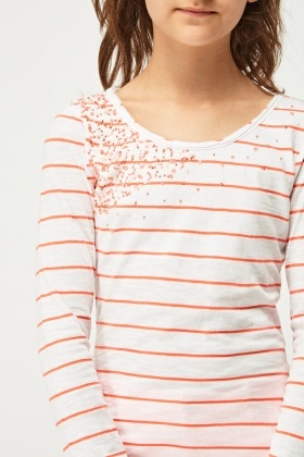 Sequin Insert Striped Top