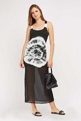 Shibori Dye Sheer Maxi Dress
