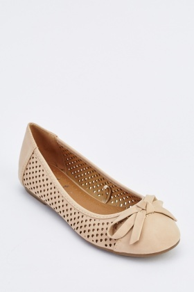 Bow Front Laser Cut Ballet Pumps