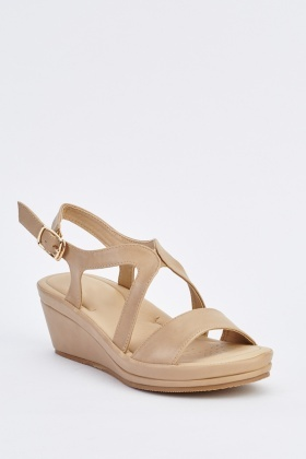 Cross Cut Wedge Sandals