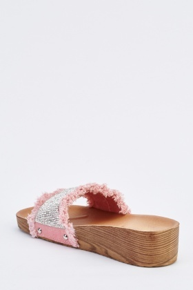 Embellished Low Wedge Slide Sandals
