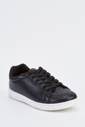 Faux Leather Glitter Encrusted Sneakers