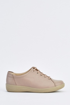 Faux Leather Lace Up Flat Plimsolls