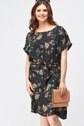 Floral Print Tie Up Shift Dress