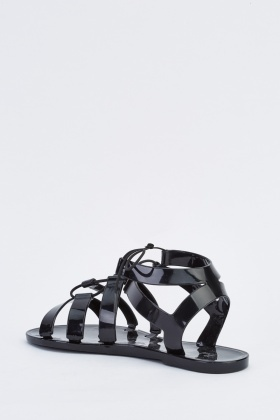 Lace Up Flat Jelly Sandals