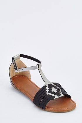 Metallic Weave Stitch Detail Flat Sandals
