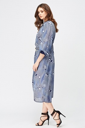 Printed Shirt Wrap Dress