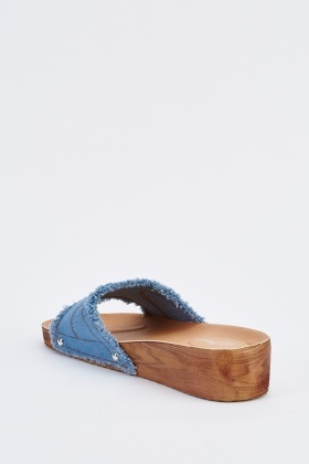 Raw Edge Denim Wedge Sliders