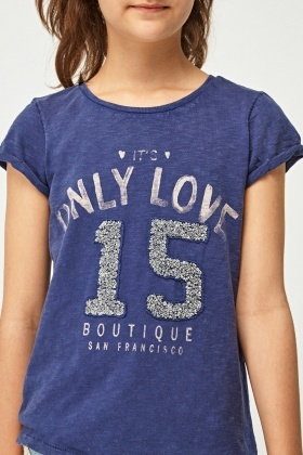 Sequin Embellished Slogan T-Shirt