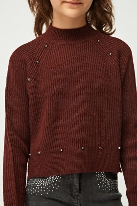 Studded Trim Sweater