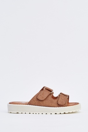 Textured Faux Leather Platform Slides