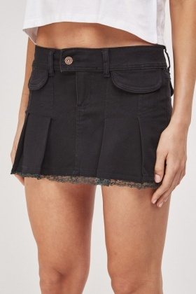 Box Pleat Lace Trim Denim Skirt