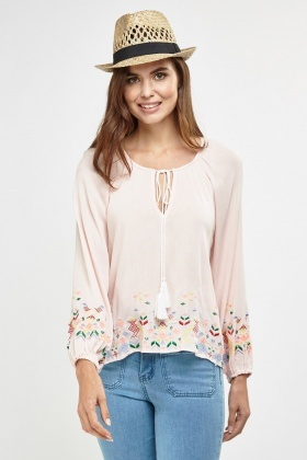 Embroidered Tie Up Smock Blouse