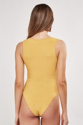 Knotted Front Ribbed Bodysuit