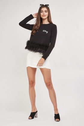Long Sleeve Feather Trim Top