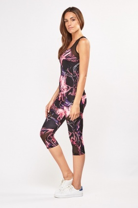 Marble Print Sports Tank Top And Leggings Set
