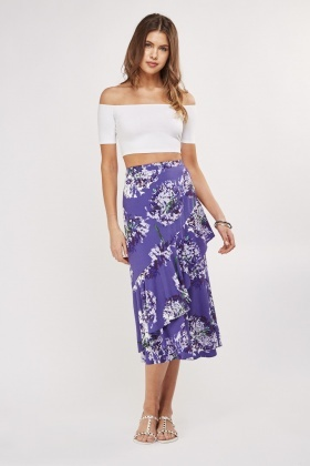Printed Asymmetric Ruffle Skirt