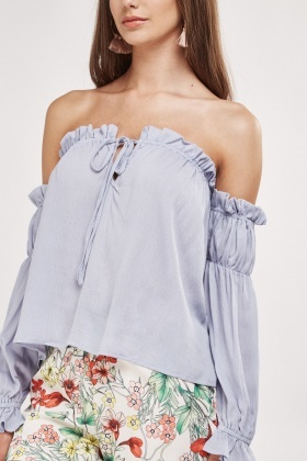 Ruffle Tie Up Off Shoulder Top