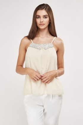 Sequin Net Insert Sheer Cami Top