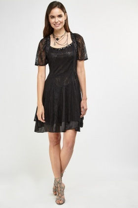 Studded Trim Lace Overlay Dress