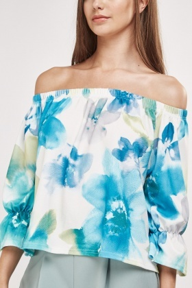 Watercolour Print Off Shoulder Top