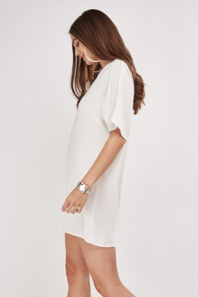 Detailed Neck Sheer Mini Dress