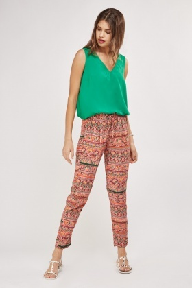 Ethnic Print Straight Leg Trousers