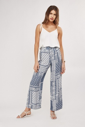 Ethnic Printed Wide Leg Trousers