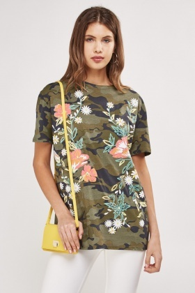 Flower Mixed Print T-Shirt