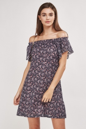 Lace Devore Contrast Off Shoulder Dress