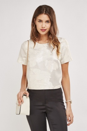 Metallic Jacquard Crop Top