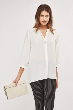 Textured Sheer Dip Hem Blouse
