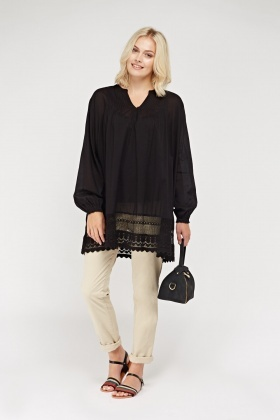 Crochet Hem Shift Oversize Top