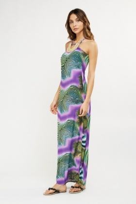 Halter Neck Mixed Print Maxi Dress