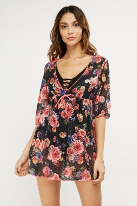 Mesh Floral Cover Up Dress