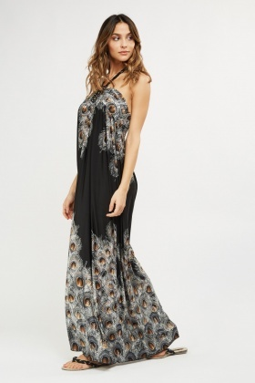 Peacock Halter Neck Maxi Dress