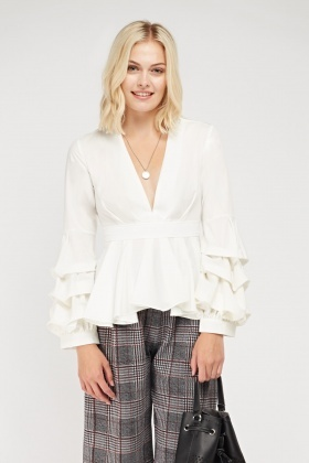 Peplum Plunge Ruched Sleeve Top