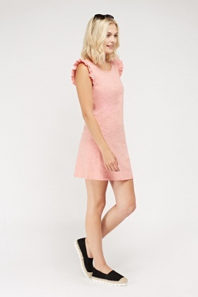 Ruffled Trim Sleeve Speckled Dress