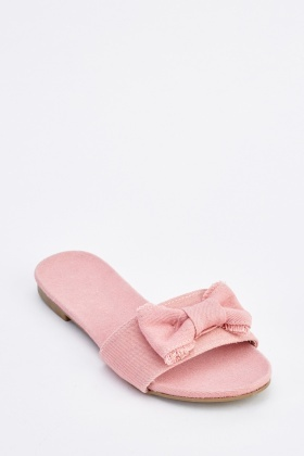 Bow Trim Denim Slides