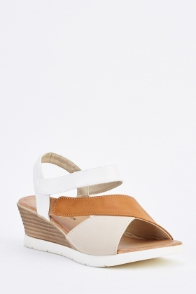 Colour Block Spiral Wedge Sandals