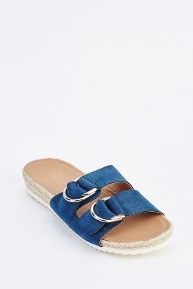 D-Ring Strap Suede Sliders