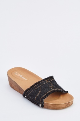 Raw Denim Edge Wedge Sandals