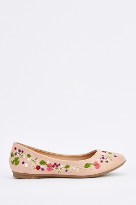 Embroidered Suede Ballet Pumps